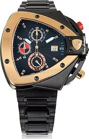 Tonino Lamborghini ,  Black And Rose Gold-tone Stainless Steel Spyder Chronograph Watch