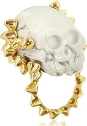 Bernard Delettrez ,  Golden Studs With Marble Skull Ring