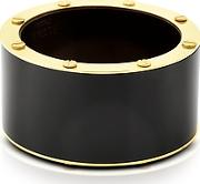 Pluma ,  Black Resin And Brass Double Viti Large Bangle