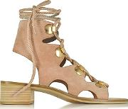 See By Chlo ,  Powder Pink Suede Lace Up Flat Sandal Shoe
