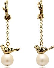 Alcozer & J ,  Treasure Goldtone Brass And Glass Pearls Earrings
