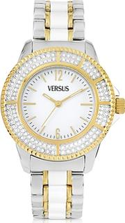 Versace Versus ,  Tokyo Crystal 38 White And Gold Stainless Steel Women's Watch