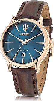 Maserati ,  Epoca Blue Dial And Brown Leather Strap Men's Watch
