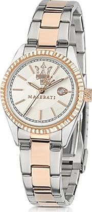 Maserati ,  Competizione Silver And Rose Golden Stainless Steel Women's Watch
