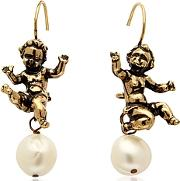 Alcozer & J ,  Naughty Children Gold Plated Brass And Glass Pearl Earrings