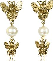 Bernard Delettrez ,  Bees And Pearls Bronze Earrings