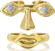 Bernard Delettrez ,  Face 9k Gold Midi Ring Two Pieces Weyesnose And Mouth