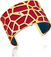 Les Georgettes ,  Giraffe Gold Plated Bracelet Wred And Petrol Blue Reversible Leather Strap