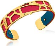 Les Georgettes ,  Small Giraffe Gold Plated Bracelet Wred And Petrol Blue Reversible Leather Strap