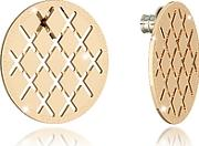 Rebecca ,  Melrose Yellow Gold Over Bronze Stud Earring