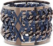 Pluma ,  Gunmetal Brass And Navy Blue Leather Large Bangle In Fumoso