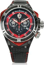 Tonino Lamborghini ,  Black Stainless Steel And Carbon Fiber Spyder Chronograph Watch