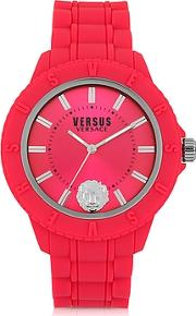 Versace Versus ,  Tokyo Silicon And Silver Tone Stainless Steel Unisex Watch