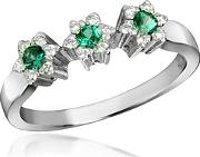 Incanto Royale ,  18k Gold Emerald And Diamond Trilogy Flower Ring
