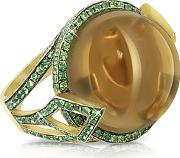 Sho London ,  18k Gold V-seal Smoky Quartz Feodora Ring