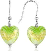 House Of Murano ,  Mare - Lime Murano Glass Heart Drop Earrings