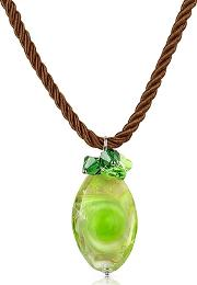 House Of Murano ,  Vortice - Lime Murano Glass Swirling Drop Necklace