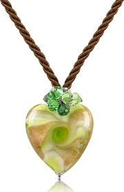 House Of Murano ,  Vortice - Lime Murano Glass Swirling Heart Necklace