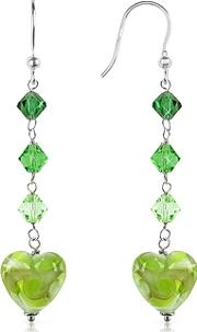 House Of Murano ,  Vortice - Lime Swirling Murano Glass Heart Earrings