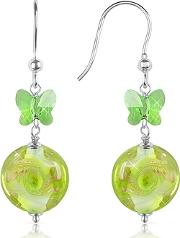 House Of Murano ,  Vortice - Lime Swirling Murano Glass Bead Earrings