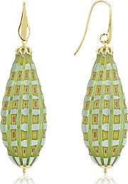 House Of Murano ,  Old Venice - Oval Gold Foil Drop Earrings