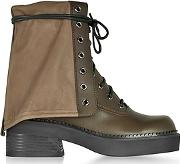 See By Chlo ,  Kaki Calf Leather Combat Boots