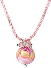 House Of Murano ,  Mare - Pink Murano Glass Ball Pendant Necklace