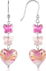 House Of Murano ,  Mare - Pink Murano Glass Heart Drop Earrings