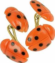 Forzieri Exclusives ,  Vintage Ladybug Coral And Onyx 18k Gold Cufflinks