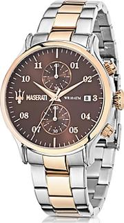 Maserati ,  Epoca Brown Dial Two Tone Stainless Steel Men's Watch