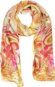 Mila Schon ,  Flowers And Paisley Print Silk Stole