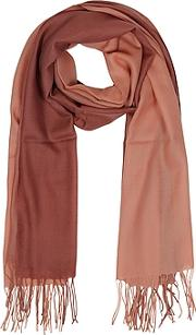 Mila Schon ,  Gradient Brickcoral Wool And Cashmere Fringed Stole
