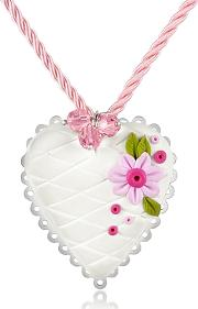 Dolci Gioie ,  Sterling Silver White Heart Cake Necklace