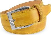 Pakerson ,  Men's Yellow Hand Painted Italian Leather Belt