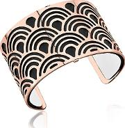 Les Georgettes ,  Poisson Rose Gold Plated Bracelet Wblack And White Reversible Leather Strap