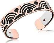 Les Georgettes ,  Small Poisson Rose Gold Plated Bracelet Wblack And White Reversible Leather Strap