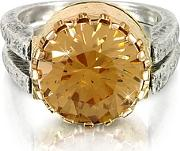 Try ,  Gold Champagne Cubic Zirconia Sterling Silver & Rose Gold Ring