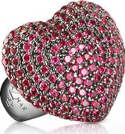 Azhar ,  Sterling Silver And Cubic Zirconia Big Heart Ring