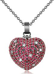 Azhar ,  Sterling Silver And Cubic Zirconia Heart Pendant Necklace