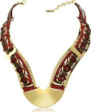 Pluma ,  Brass Woven Leather Necklace In Gold Burgundy And Brown