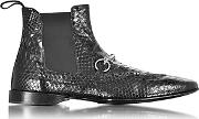 Cesare Paciotti ,  Black Python Leather Low Boot