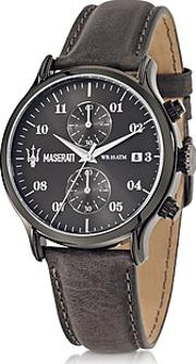Maserati ,  Epoca Chronograph Gray Dial And Leather Strap Men's Watch