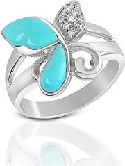 Del Gatto ,  Diamond And Turquoise Butterfly 18k Gold Ring