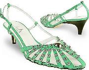Amaltea ,  Mint Studded Strappy Leather Pump Shoes