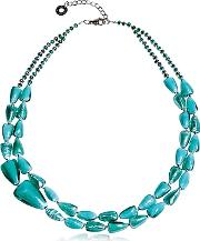 Antica Murrina ,  Marina 1 Double - Turquoise Green Murano Glass And Silver Leaf Necklace