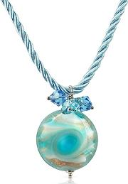 House Of Murano ,  Vortice - Turquoise Murano Glass Small Swirling Bead Necklace