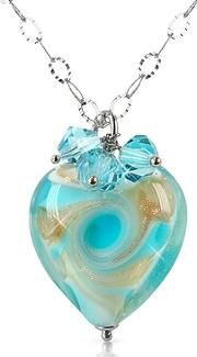 House Of Murano ,  Vortice - Turquoise Murano Glass Swirling Heart Sterling Silver Necklace