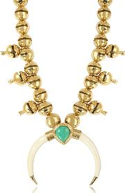 Aurelie Bidermann ,  Navaho Gold Plated Horn And Turquoise Pendant Necklace