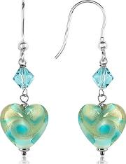 House Of Murano ,  Vortice - Turquoise Swirling Murano Glass Heart Earrings
