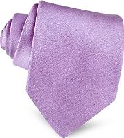 Forzieri ,  Lilac Solid Smooth Extra-long Pure Silk Tie